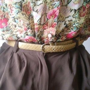 Vintage tan snakeskin belt